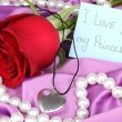 Heart pendant with red rose — Stockfoto #19844949