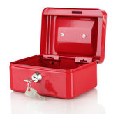 Open red case isolated on white — Stock Photo