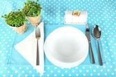 朝食用のテーブルの設定 — ストック写真