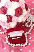 Conceptual photo: wedding in pink color style — Stock Photo