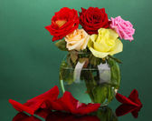 Beautiful roses in glass vase on green background — Stock Photo