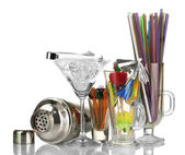 Cocktail shaker and other bartender equipment isolated on white — Stock Photo