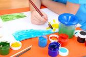 Child boy painting in his album — Stock Photo