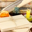 Stacks of old letters on wooden table — Stockfoto #20001033
