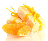Natural handmade soap and orange, isolated on white — Stockfoto