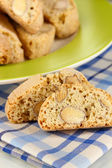 Aromatic cookies cantuccini on napkin close-up — Stock Photo