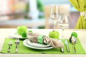 Holiday table setting at restaurant — Stock Photo