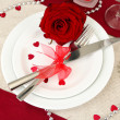 Table setting in honor of Valentine's Day close-up — Stock Photo #20056469