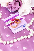 Conceptual photo: wedding in violet color style — Stock Photo