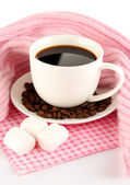 Cup of coffee with scarf isolated on white — Stock Photo
