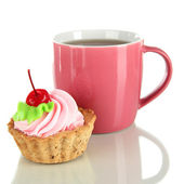 Xícara de chá com bolo isolado no branco — Fotografia Stock