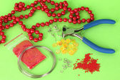 Set for needlework on green background — Stockfoto