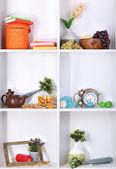Schöne weiße regale mit verstreuten verschiedene heimat verbundener objekte — Stockfoto