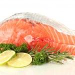 Fresh salmon steak, isolated on white — Stock Photo #20165783