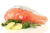 Darne de saumon frais, isolé sur blanc — Photo