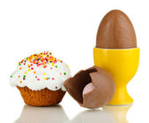 Composition of chocolate eggs and Easter cake isolated on white — Stock Photo