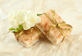 Natural handmade soap, on beige background — Stock Photo