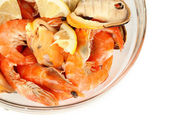 Seafood salad in bowl isolated on white — Stock Photo
