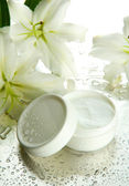 Cosmetic cream and beautiful lily, close up — Stock Photo