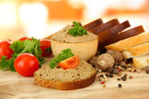 Composition of fresh pate, tomatoes and bread, on bright background — Stock Photo