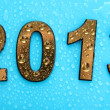 2013 in golden numbers, on blue background — Foto de Stock