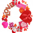 Circular composition Valentine's Day isolated on white — Stock Photo