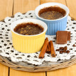 Stock Photo: Chocolate pudding in bowls for baking on wooden table