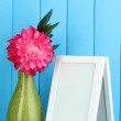 White photo frame for home decoration on blue background — Stock Photo
