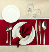 Holiday table setting, close up — Stock fotografie