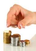 Woman hand with coins, close up — Stock Photo