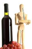 Mannequin avec tire-bouchon et bouteille de vin, isolé sur blanc — Photo
