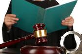 Judge read verdict on white background — Stock Photo