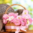 Stock Photo: Bouquet of eustomflowers in basket, on wooden table, on green background