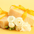 Natural handmade soap, on yellow background — Stock Photo #20389563