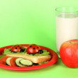 Fun food for kids on green background — Foto de Stock
