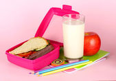 Lunch box with sandwich,apple,milk and stationery on pink background — Stock Photo