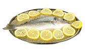 Fresh fish of dorado on tray with lemon and parsley isolated on white — Stock Photo