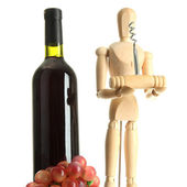 Mannequin with corkscrew and wine bottle, isolated on white — Stock Photo