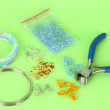 Stock Photo: Set for needlework on green background