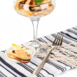 Cocktail of mussels in vase isolated on white - Stock Photo