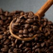 Stock Photo: Black wok pwith coffee beans, close up