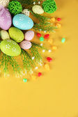 Composition for Easter on yellow background — Stock Photo