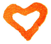 Decorative heart from dry orange peel isolated on white — Stock Photo