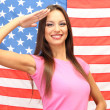 Young woman with American flag — Stock Photo #20662383