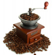 Coffee grinder with coffee beans, isolated on white — Foto de Stock