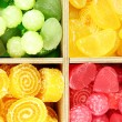 Multicolor candies in wooden box, close up - Stock Photo