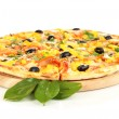 Tasty pizza with vegetables, chicken and olives isolated on white — Stock Photo #20663417