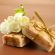 Stock Photo: Natural handmade soap, on brown background