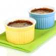 Chocolate pudding in bowls for baking isolated on white — Stock Photo