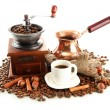 Cup and pot of coffee and coffee beans, isolated on white — Stok fotoğraf